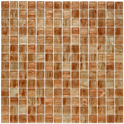 Fused 0.75 x 0.75 Glass Mosaic Tile in Tan and Gold
