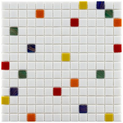 Fused 0.75 x 0.75 Glass Mosaic Tile in White/Red