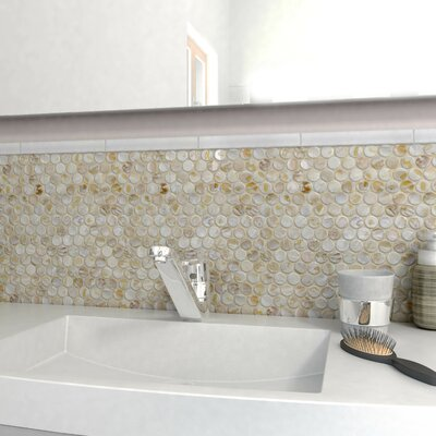 Shore Penny 0.99 x 0.99 Seashell Mosaic Tile in Textured Natural Shell