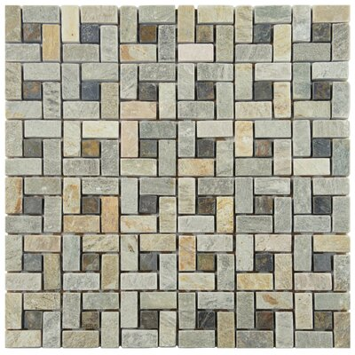 Peak 12 x 12 Natural Stone Mosaic Tile in Yellow/Green