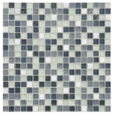 Sierra 0.58 x 0.58 Glass and Natural Stone Mosaic Tile in Blue/White