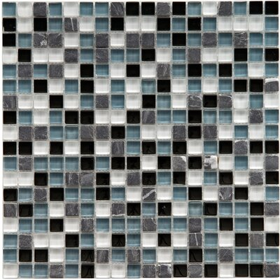 Sierra 0.58 x 0.58 Glass and Natural Stone Mosaic Tile in Black/White