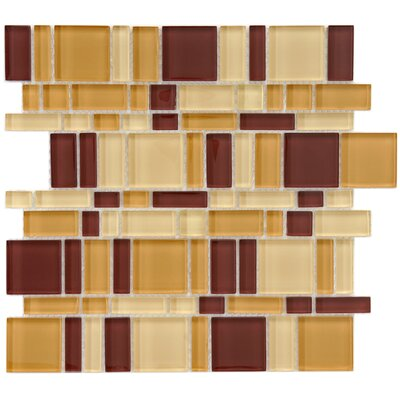 Sierra Random Sized Glass Mosaic Tile in Brown/Tan