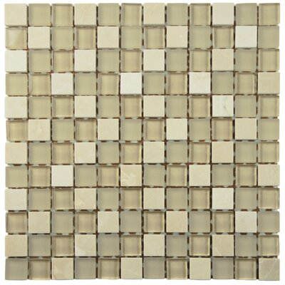 Sierra 0.88 x 0.88 Glass and Natural Stone Mosaic Tile in Sandstone