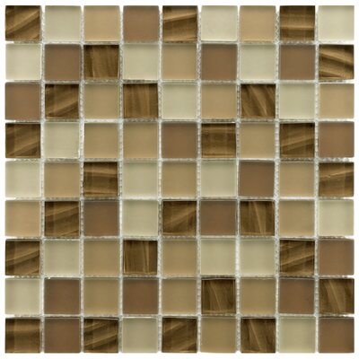Neptunian 1.19 x 1.19 Glass Mosaic Tile in Brown