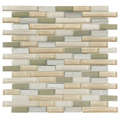 Sierra Random Sized Glass and Natural Stone Mosaic Tile in Gray/Beige