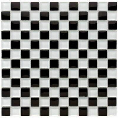 Sierra 0.88 x 0.88 Glass and Natural Stone Mosaic Tile in Black/White