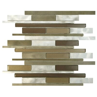 Commix Random Sized Glass/Aluminum Mosaic Tile in Smooth Champagne