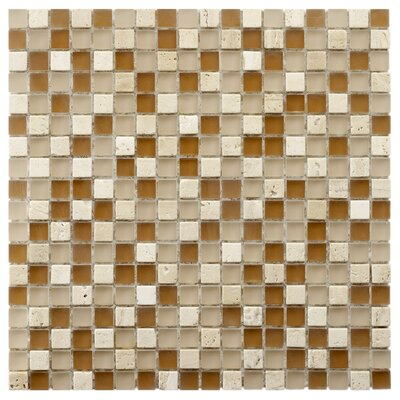 Sierra 0.58 x 0.58 Glass and Natural Stone Mosaic Tile in Brown/Cream