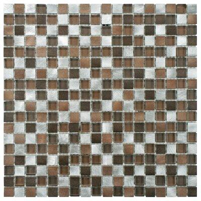 Cheap Commix 1 x 1 Glass Aluminum Mosaic Tile in Noir for sale