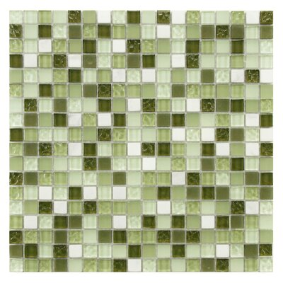 Sierra 0.58 x 0.58 Glass and Natural Stone Mosaic Tile in Green/White