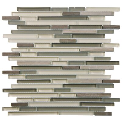 Sierra  Random Sized Glass/Natural Stone Mosaic Tile in Gray/Brown
