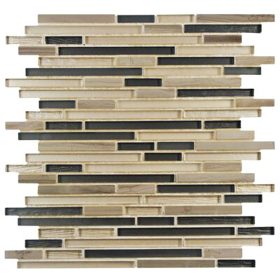 Sierra Random Sized Glass/Natural Stone Mosaic Tile in Sand/Brown