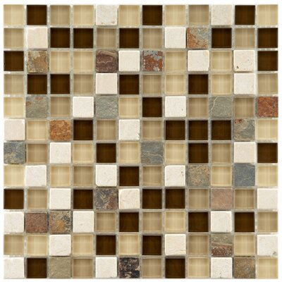 Sierra 0.88 x 0.88 Glass and Natural Stone Mosaic Tile in Cream/Brown