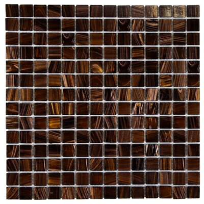 Fused 0.75 x 0.75 Glass Mosaic Tile in Brown and Gold