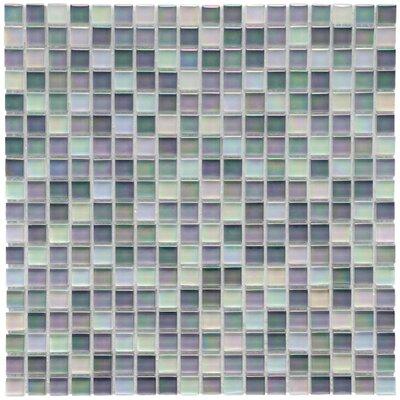 Sierra 0.58 x 0.58 Glass Mosaic Tile in Cream/Blue