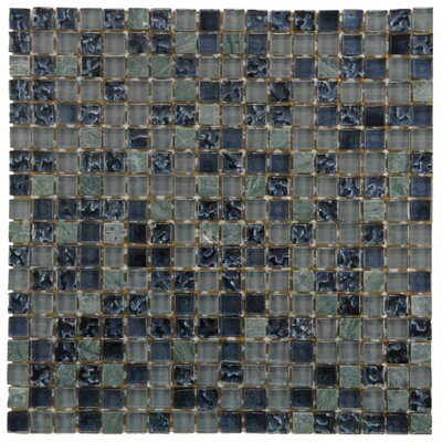 Sierra 0.58 x 0.58 Glass and Natural Stone Mosaic Tile in Blue/Gray