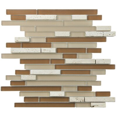 Sierra Random Sized Glass and Natural Stone Mosaic Tile in Brown/Cream