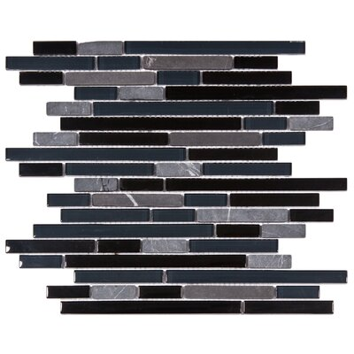 Sierra Random Sized Glass and Natural Stone Mosaic Tile in Black/Blue