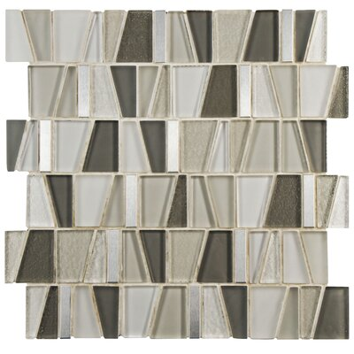 Trapeze 11.87 x 11.75 Glass/Brushed Aluminum Mosaic Tile in Beige