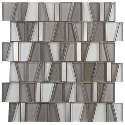 Trapeze 11.87 x 11.75 Glass/Brushed Aluminum Mosaic Tile in Gray