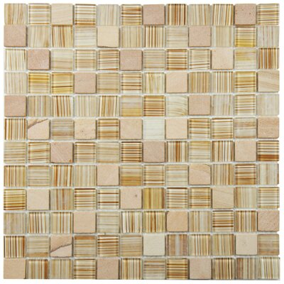 Chroma 0.89 x 0.89 Glass and Natural Stone Mosaic Tile in Butterscotch