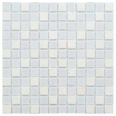 Chroma 0.88 x 0.88 Glass and Natural Stone Mosaic Tile in White