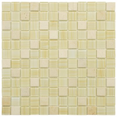 Chroma 0.875 x 0.875 Glass and Natural Stone Mosaic Tile in Macadamia