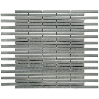 Metallic 3.875 x 0.375 Stainless Steel Over Ceramic Mosaic Tile in Silver