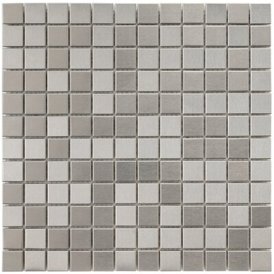 Vulcan 0.875 x 0.875 Stainless Steel and Porcelain Mosaic Tile in Silver