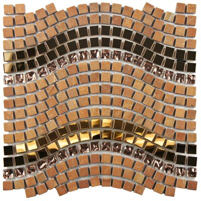 Sierra 0.563 x 0.563 Glass/Stone/Metal Mosaic Tile in Polished Metallics