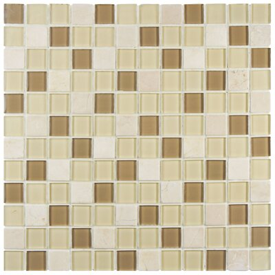 Chroma 0.89 x 0.89 Glass and Natural Stone Mosaic Tile in Brown/Cream