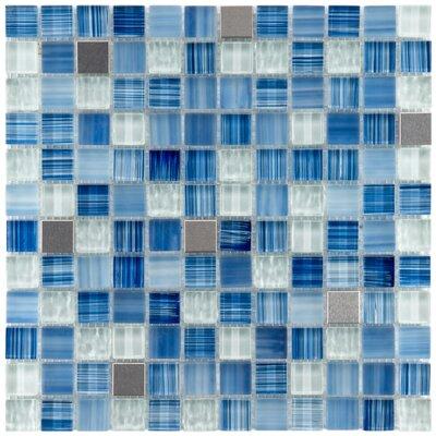 Sierra 0.875 x 0.875 Glass and Metal Mosaic Tile in Alpine