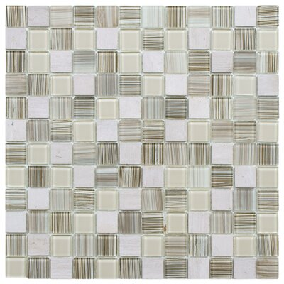 Chroma 0.89 x 0.89 Glass and Natural Stone Mosaic Tile in Pistachio