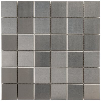 Vulcan 1.88 x 1.88 Stainless Steel and Porcelain Mosaic Tile in Silver
