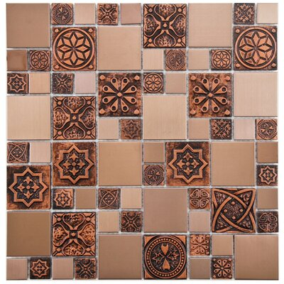Random Sized Metal/Porcelain/Resin Mosaic Tile in Copper