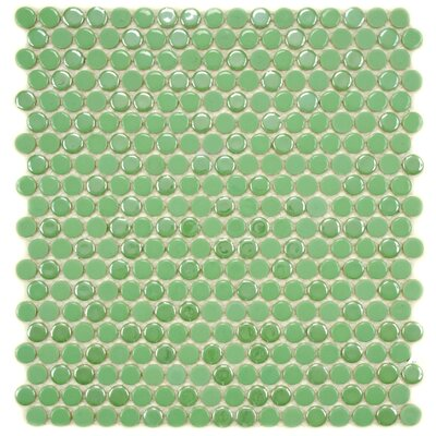 Posh Penny 0.625 x 0.625 Porcelain Mosaic Tile in Green