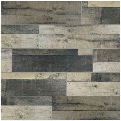 Lena 7.88 x 23.63 Ceramic Wood Tile in Gris
