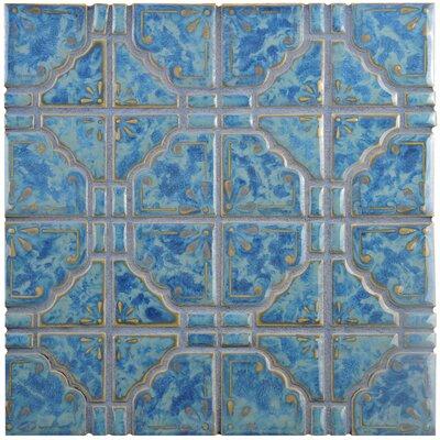 Moonlight Random Sized Porcelain Mosaic Tile in Pacific Blue