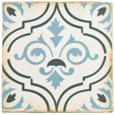 Arquivo 4.88 x 4.88 Ceramic Field Tile in Blue/Green/White