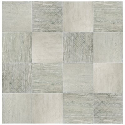 Woodpatch 9.5 x 9.5 Porcelain Wood Tile in Silver