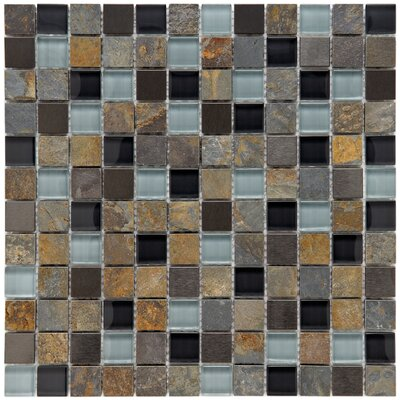 Abbey 0.88 x 0.88 Glass/Natural Stone/Metal Mosaic Tile in Alloy Charcoal