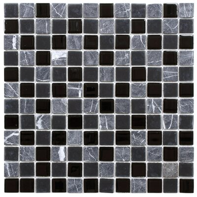 Chroma 0.88 x 0.88 Glass and Natural Stone Mosaic Tile in Black/Gray