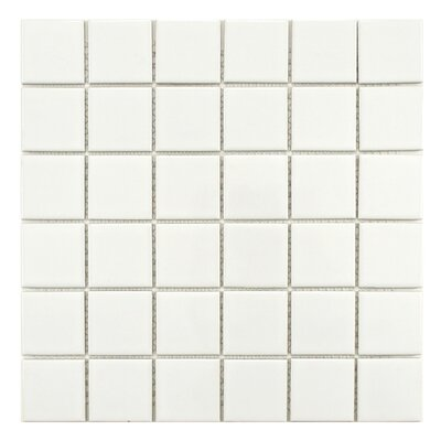 Retro Quad 2 x 2 Porcelain Mosaic Tile in Glossy White