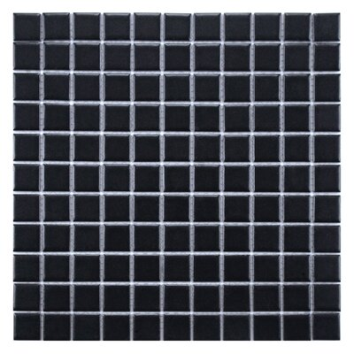 Retro 1 x 1 Porcelain Mosaic Tile in Matte Black