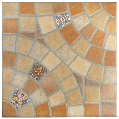 Ancara 13.13 x 13.13 Ceramic Mosaic Tile in Beige/Orange