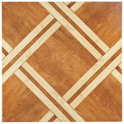 Anchorage 17.75 x 17.75 Ceramic Wood Look Tile in Caramelo