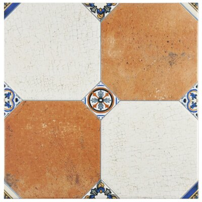 Turia 13.12 x 13.12 Ceramic Field Tile in White/Orange