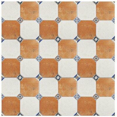 Turia 13.12 x 13.12 Ceramic Field Tile in White/Orange