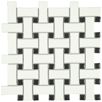 Retro Basket Weave Random Sized Porcelain Mosaic Tile in Matte White/Black
